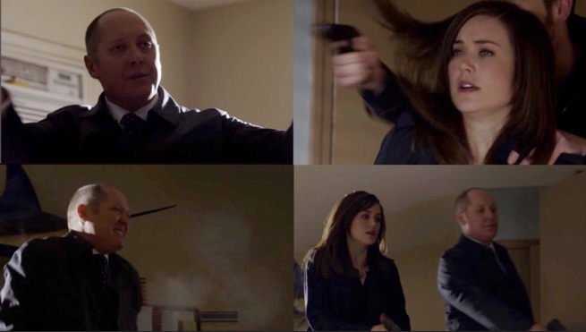 1. Red disarms, 2. Tom shoots, 3. Red is hit, 4. Red rushes to shoot Tom (Liz stops him)