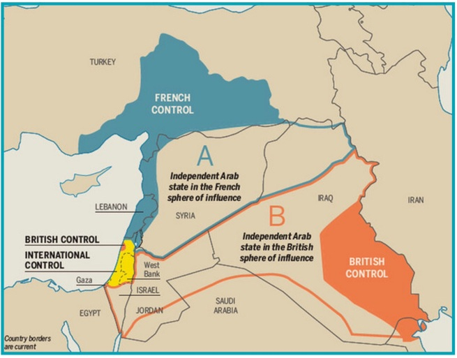 Legend. Legacy of WWI: Sykes-Pico Agreement of 1916 awarded parts of the Middle East to the European victor states. Map by Vox http://bit.ly/1G6Z1lB  (5/5/2014)