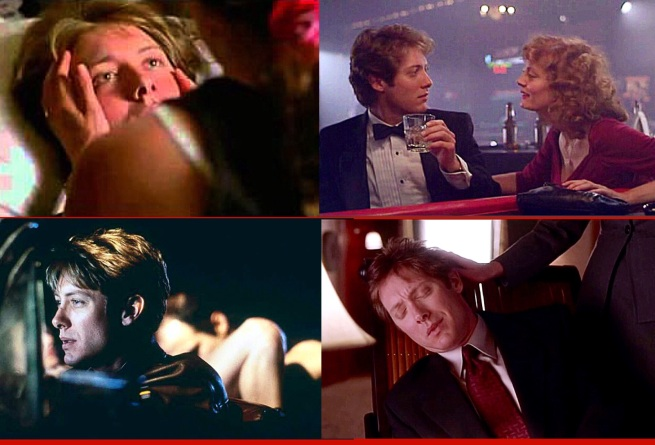 Passivity. James Spader with Andie MacDowell in sex, lies & videotape, with Susan Sarandon in White Castle, with Debra Kara Unger in Crash (having sex with another man as her husband drives), and with Maggie Gyllenhaal in Secretary