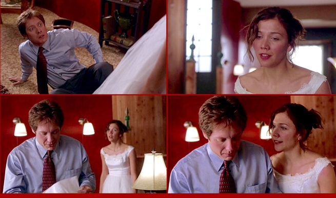 "Having left her wedding to tell Edward she loves him, he responds, ""I'm sorry but I don't believe it to be true."" ""But it IS true."" (Secretary, directed by David Shainberg (2002). James Spader and Maggie Gyllenhaal.)"