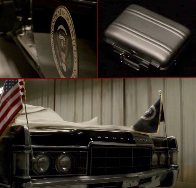 Why does Red have a Presidential limo stored at the compound – and what is the case?