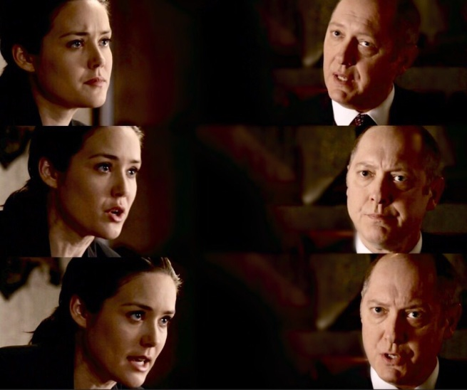 Liz: My mother and my father – I'm gonna find out the truth. Red: But listen to me. The Cabal is orchestrati–