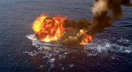Dembe and crew blow up Jasper's yacht to force him out of hiding.