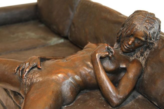 "Leslie Stefanson Bronze, ""On the Couch"""
