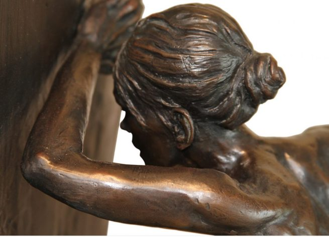 "Leslie Stefanson bronze, ""Against the wall"""